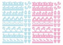 Embellishments / Verzierungen 56 tableros de partículas, adornos de bebé en rosa y azul