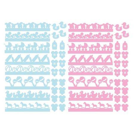 Embellishments / Verzierungen 56 Chipboards, Baby Verzierungen in rosa und blau