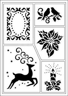 Schablonen und Zubehör für verschiedene Techniken / Templates Flexible stencils, A5, Christmas motifs