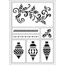 Flexible Stencils, A5, Weihnachts kugeln und Schnorkel