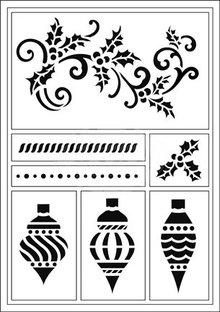 Schablonen und Zubehör für verschiedene Techniken / Templates Flexible stencils, A5, Christmas balls and snapple