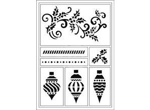 Schablonen und Zubehör für verschiedene Techniken / Templates Flexible Stencils, A5, Weihnachts kugeln und Schnorkel