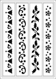 Schablonen und Zubehör für verschiedene Techniken / Templates Flexible Stencils, A5, Christmas Theme Edges