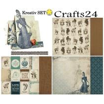 """3 bue, designer papir """"Couture Collection Edition I"""" + 1 Grundkort + tip Dekoband!"""