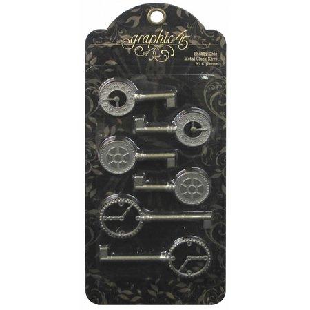 Graphic 45 Llaves del reloj de metal Shabby Chic