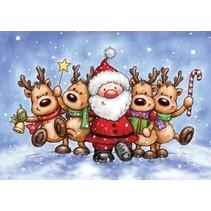 Sello transparente: renos y Santa Claus
