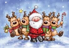 Wild Rose Studio`s Gennemsigtig Stempel: rensdyr og julemanden