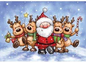 Wild Rose Studio`s Sello transparente: renos y Santa Claus