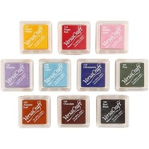 10 stamp pads, 24x24 mm, 10 colors assortment