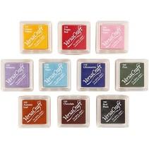 10 Stempelkissen, 24x24 mm, 10 Farben Sortiment
