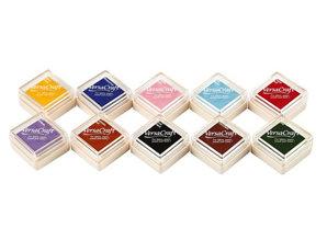 FARBE / STEMPELINK 10 tampón de tinta, 24x24 mm, 10 colores van