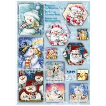 Bastelpackung carte cascata, pupazzi di neve, Babbi Natale