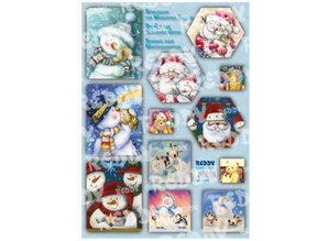 BASTELSETS / CRAFT KITS: Bastelpackung carte cascata, pupazzi di neve, Babbi Natale