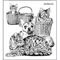 gato y perro, sello alrededor de 9 x 10 cm