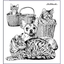 Stamp dog and cat, about 9 x 10 cm