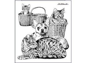 STEMPEL / STAMP: GUMMI / RUBBER gato y perro, sello alrededor de 9 x 10 cm