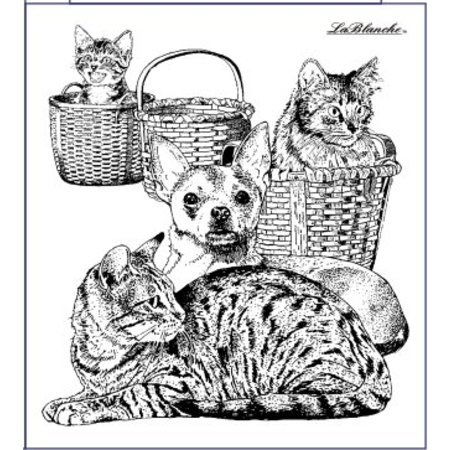 STEMPEL / STAMP: GUMMI / RUBBER Stamp dog and cat, about 9 x 10 cm