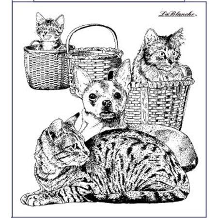 STEMPEL / STAMP: GUMMI / RUBBER Stempel kat og hund, omkring 9 x 10 cm