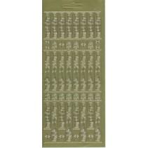 hoja de etiquetas, 10x23cm texto alemán: Feliz Navidad, verticalmente en oro