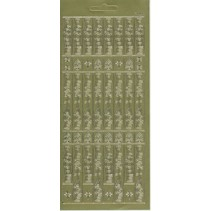 Stickerbogen, 10x23cm deutsche Text: Frohe Festtage, senkrecht in Gold