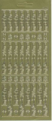 Sticker foglio adesivo, 10x23cm testo in tedesco: Buon Natale, in verticale in oro