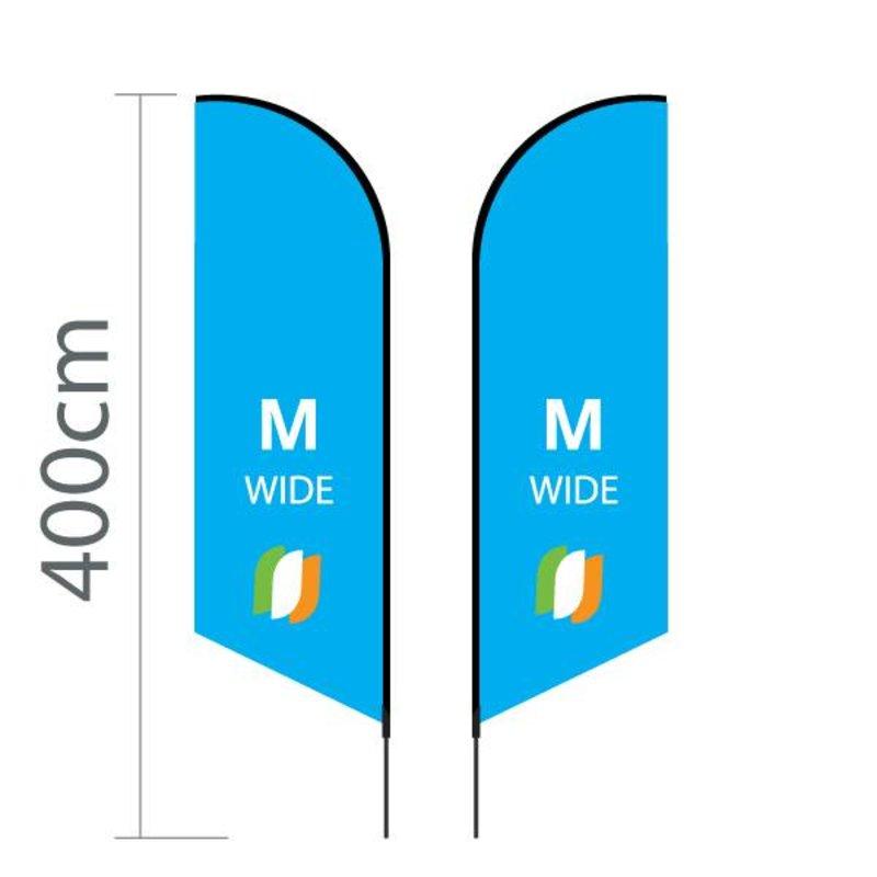 "Beach flag Angled M - Extra Wide - 90x300cm (35"" x 118"")"