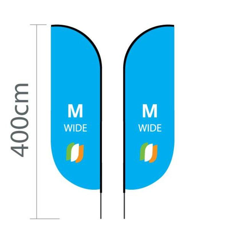 "Beach flag Convex M - Extra Wide - 90x300cm (35"" x 118"")"