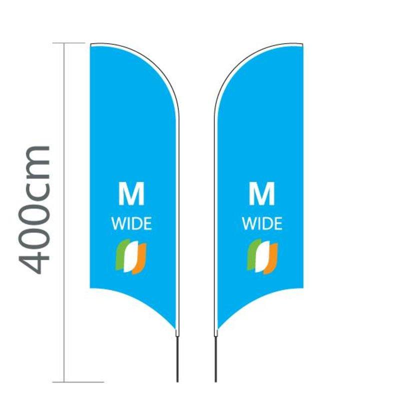 Beach flag Concave M - Extra Wide - 90x300cm