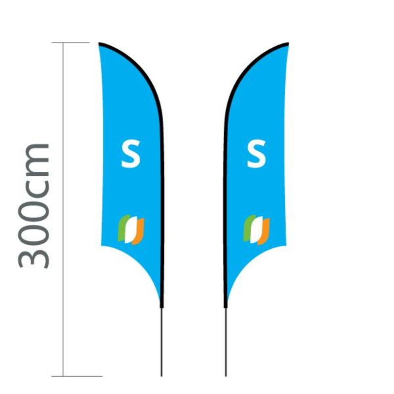 "Beach flag Shark S - 68x250cm (27"" x 98"")"