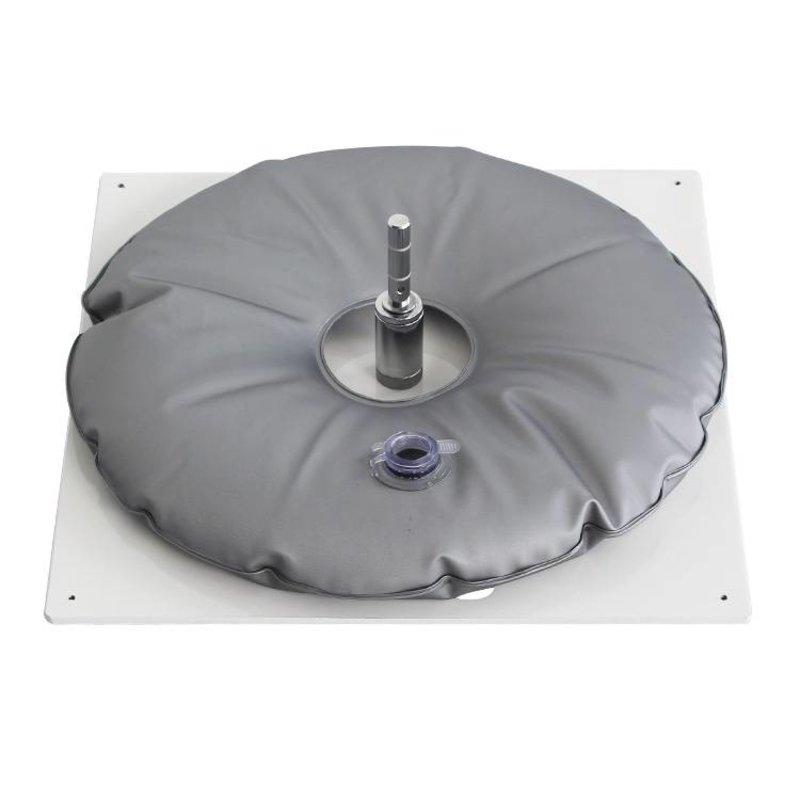 Bodenplatte, heavy, weiss mit Wassersack grau
