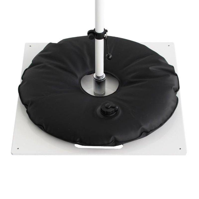 Bodenplatte, heavy, weiß mit wassersack schwarz
