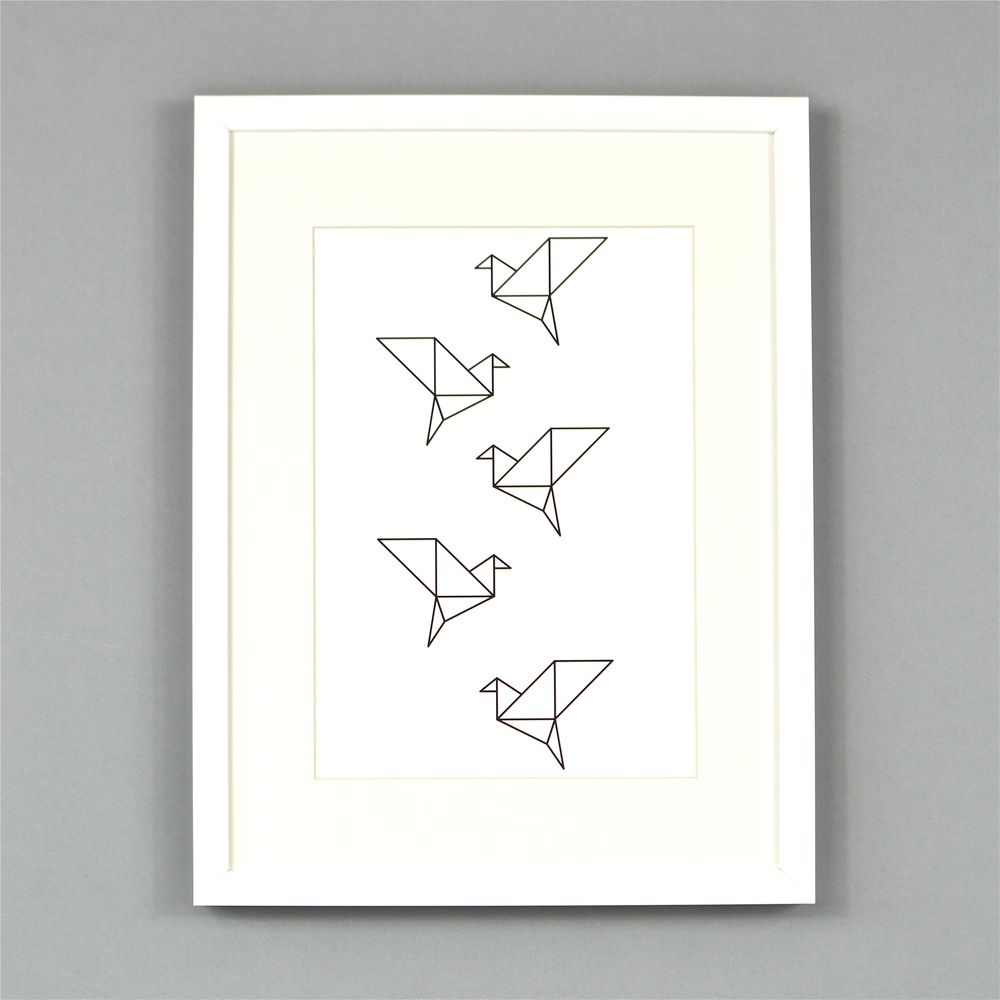 Origami vogels Poster Ingrid Petrie A3