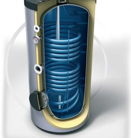 Buffervat 200 Liter, indirect gestookt, met 2 warmtewisselaars