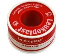 LEUKOPLAST Hechtpleister 5m x 2.50cm rood (5mtr)