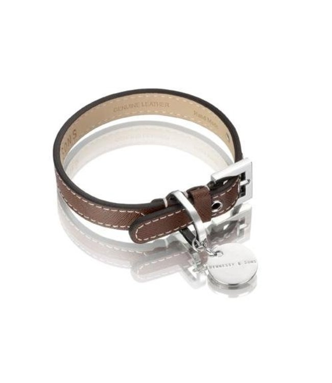 Hennessy and Sons Hennessy & Sons Saffiano collar, chocolate