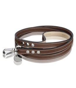 Hennessy and Sons leather leash Saffiano Chocolate