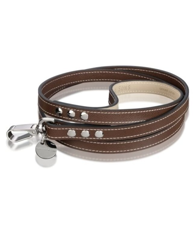 Hennessy and Sons Hennessy & Sons leather leash Saffiano Chocolate