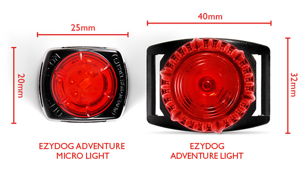 EzyDog Adventure Light product afmetingen