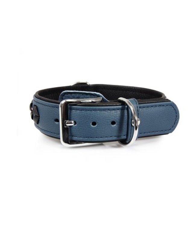 Das Lederband collar Granada, Opal / Black