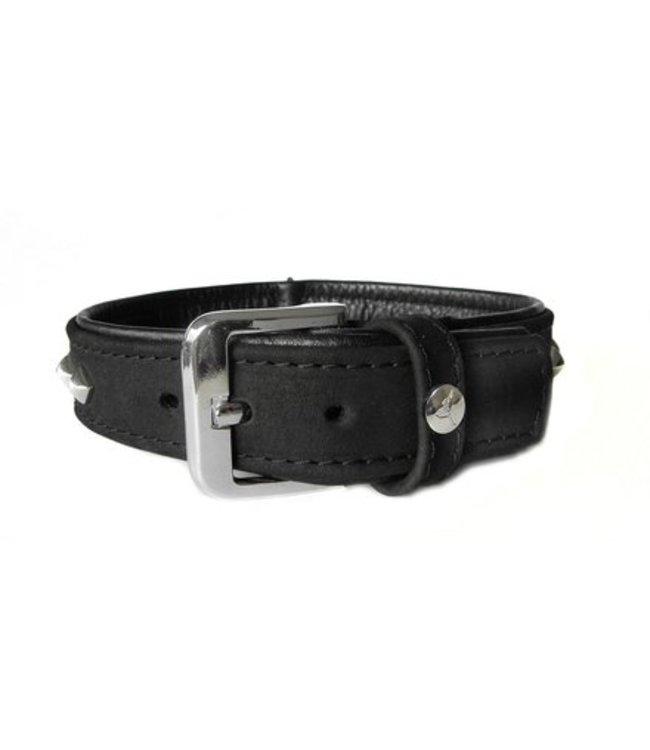 Das Lederband collar Roma, Black / Black