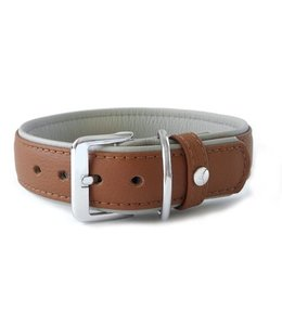 Das Lederband collar Amsterdam, brandy / grey