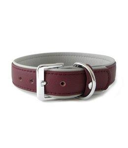 Das Lederband collar Amsterdam, merlot / grey