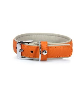 Das Lederband collar Amsterdam, orange / grey