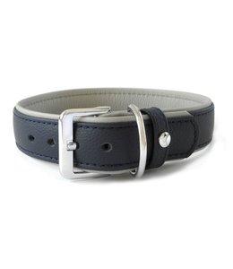 Das Lederband halsband Amsterdam, navy / grijs
