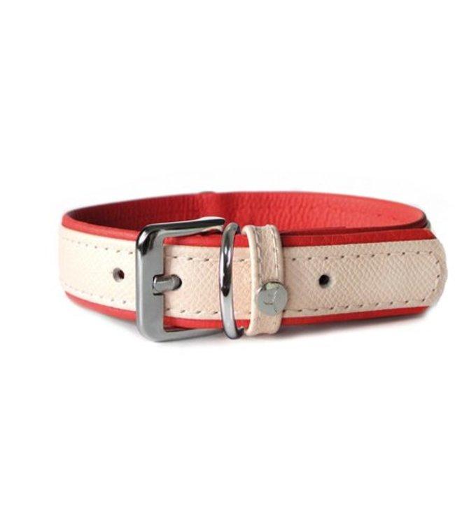 Das Lederband collar Firenze, Rosy / Rubyred