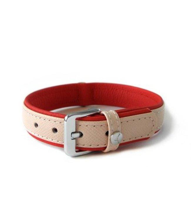 Das Lederband halsband Milano, Rosy / Rubinrot