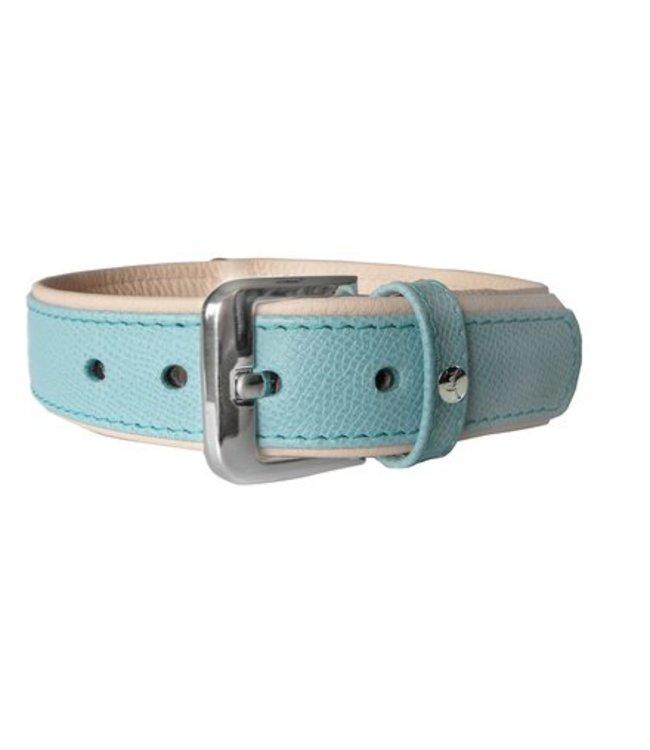 Das Lederband collar Milano, Electric Blue / Nude