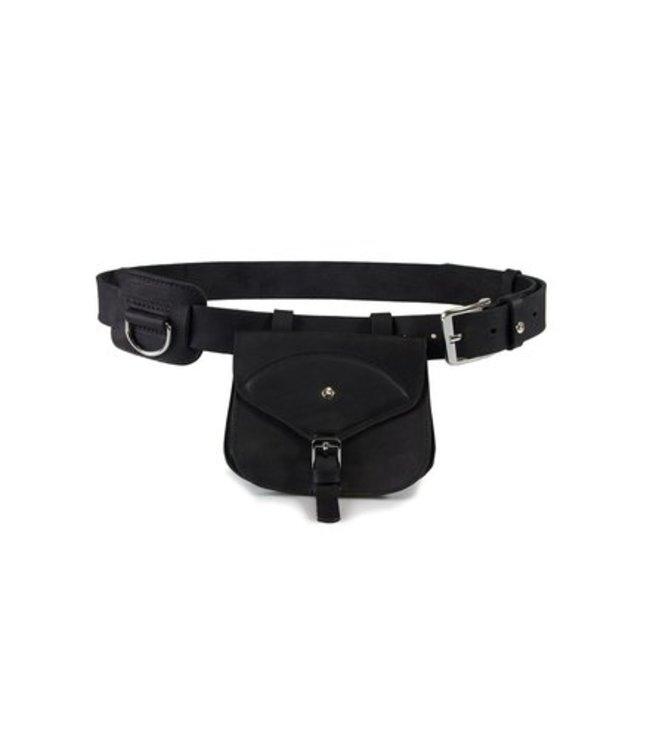 Das Lederband hunting belt with D-ring and bag Graz, black