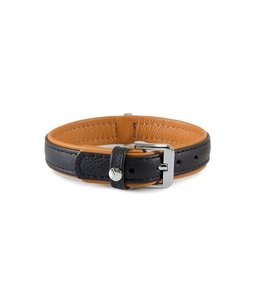 Das Lederband collar Denver, black / cognac