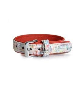 Das Lederband halsband Casablanca Krijt / Rubyred